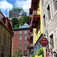 A view of the Fairmont le Chateau Frontenac from the lower town of old town Quebec.