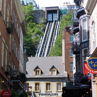 The funicular going from the upper town of old town Quebec to the lower town.