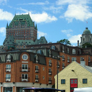 The Fairmont le Chateau Frontenac from the Quartier Petit-Champlain (lower old town) of Quebec City.