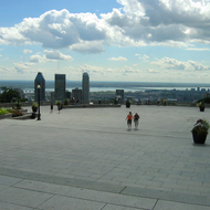 The lookout at the Chalet at Mount Royal Park in Montreal.