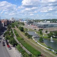A view of the Promenade du Vieux-Port from the Pointe-a-Calliere Museum in Montreal.