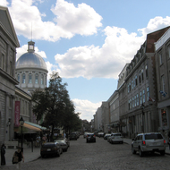 The street in front of the Bonsecours Market in old Montreal.