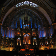 A view of the altar of the Notre-Dame Basilica in old Montreal.