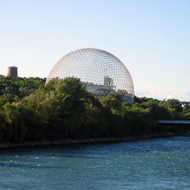 The Biosphere from the Pont de Isle Bridge in Montreal.