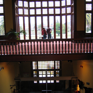 An inside view of the Rotorua Museum, formerly the Bath House building, in Rotorua, New Zealand.