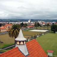 A view from a roof-top viewing platform at the Rotorua Museum, formerly the Bath House building, looking toward downtown Rotorua, New Zealand.