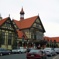 A view of the Rotorua Museum, formerly the Bath House building, in Rotorua, New Zealand.