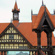 A view of the Rotorua Museum, formerly the Bath House building, in Rotorua, New Zealand, from its rooftop viewing platform.