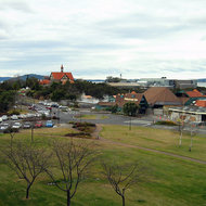 A view of the Polynesian Spa and the Rotorua Museum (red roof left of center) in Rotorua, New Zealand.