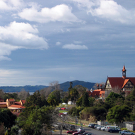 A view of the Rotorua Museum (right) and the Blue Baths (left) in Rotorua, New Zealand.