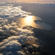 A view of a New Zealand lake from a commercial jet on its way to Wellington from Rotorua.