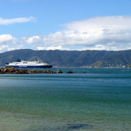A New Zealand ferry on its way to the South Island from Wellington, New Zealand.
