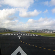 A view down the runway just before take-off at the Wellington, New Zealand, airport.