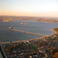 An aerial view of Botany Bay upon approach to the Sydney International Airport.