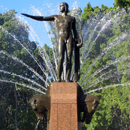 A close-up of the Archibald Memorial Fountain in Hyde Park by Francois Sicard (Parisian sculptor), in downtown Sydney, Australia, erected in 1932.