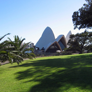 A view of the Sydney Opera House from the Government House lawn.