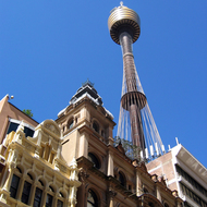 The old and the new -- older buildings below the Sydney Tower.