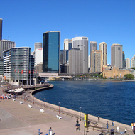 Looking toward Circular Quay and downtown Sydney from the Sydney Opera House.
