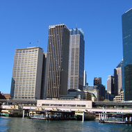 Circular Quay and downtown Sydney high-rise buildings.