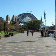 The Sydney Harbour Bridge from the promenade in front of the The Rocks.