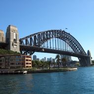 The Sydney Harbour Bridge and the Park Hyatt hotel from Overseas Passenger Terminal at Sydney Cove.
