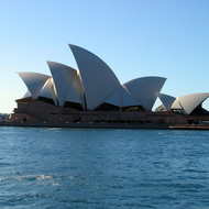 The Sydney Opera House from the other side of Sydney Cove.
