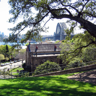 The Sydney Harbour Bridge and the Holy Trinity Church from Observatory Hill.