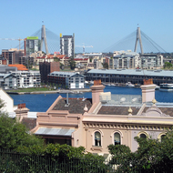 Millers Point, Darling Harbour, Pyrmont and the Glebe Island (Anzac) Bridge from Observatory Hill, Sydney.