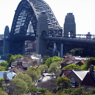 The Sydney Harbour Bridge looking along Lower Fort Street from Observatory Hill.
