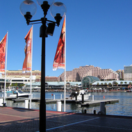 Looking across Darling Harbour to Harbourside and the Sydney Convention Center.