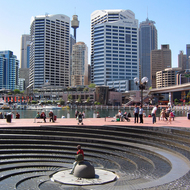The Spiral Fountain at Darling Harbour, Sydney.