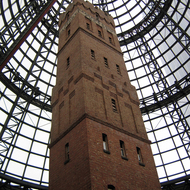 The historic Shot Tower that is now enclosed as part of the Melbourne Central Shopping Centre in downtown Melbourne, Australia.