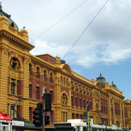 The Flinders Street Train Station in downtown Melbourne, Australia.