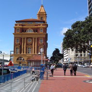 A view of the Auckland ferry building.