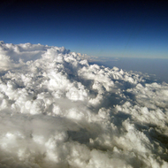 A view of major cloud formations from a commercial jet.