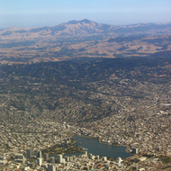 A view of downtown Oakland, with Mount Diablo in the distance.
