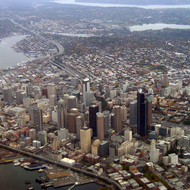 An aerial view of downtown Seattle, Washington.