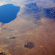 An aerial view of Walker Lake and Hawthorne, Nevada.