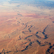 An aerial view of the Green River south of Green River, Utah in the Southwest United States.