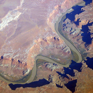 An aerial view of the Green River at Mineral Bottom.