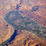 An aerial view of Moab, Utah on the Colorado River.