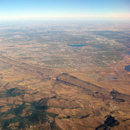 An aerial view of Denver from the Southwest.