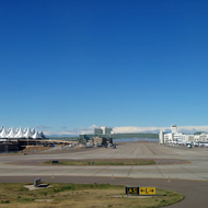 The Denver International Airport from the tarmac.
