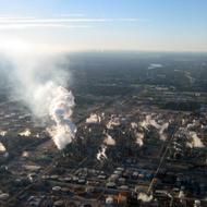 An aerial view of a refinery near Baton Rouge, LA.
