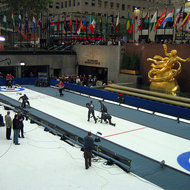 A curling competition at Rockefeller Center in New York City.
