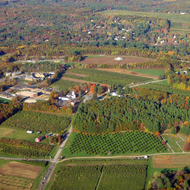 An aerial view of the countryside near Manchester, NH in late October.
