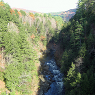 The Ottaquechee River in Quechee Gorge at Quechee Gorge State Park, Vermont.