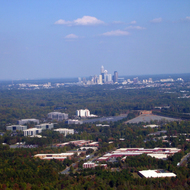 An aerial view of Charlotte, North Carolina.