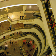 The inside of the Nordstrom's side of the Westfield San Francisco Centre shopping center.
