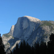A view of Half Dome from Curry Village.